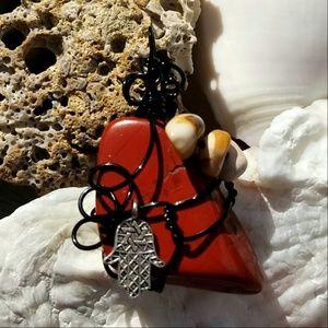 53b17aad430 InspiredJenstones · Boho Hamsa Hand Red Jasper Crystal Pendant